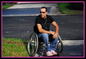 Danny Ruiz in a wheelchair