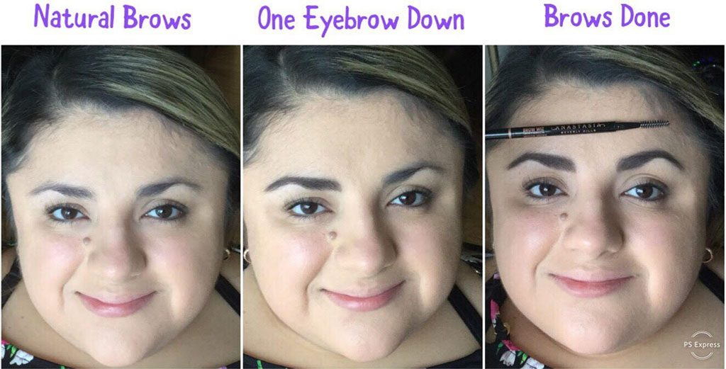Three photos in a row of a Latina female's face showing the various ways to have eyebrows done. It says Natural brows, one eyebrow down, Brows done. Cruelty free make up.