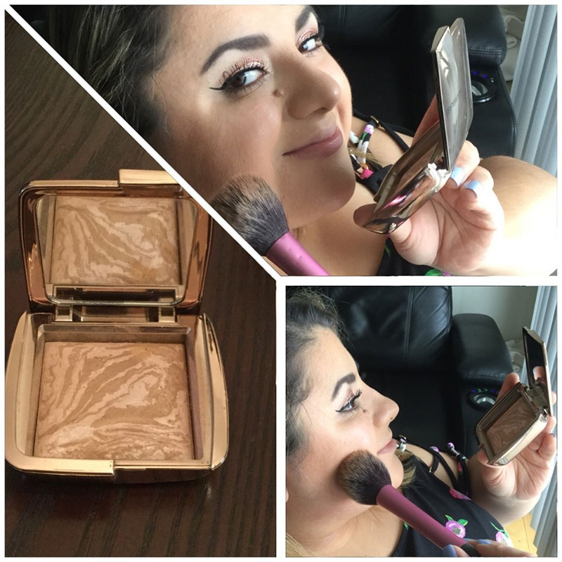 Split screen. Cruelty Free Hourglass bronzer compact on the right. Upper right, Latina female named Sofia smiles at the camera while putting on the bronzer. Lower right, she's putting the bronzer on her cheeks.