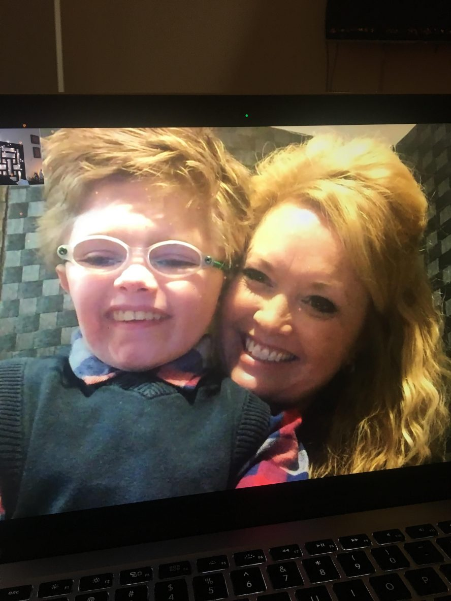 Cale Ferrin with his mom