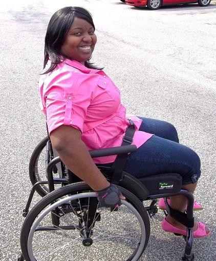 Nina Ellis Sits in her wheelchair